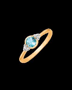 Støvring Design Ring i 8 Karat Guld med Blå Topas
